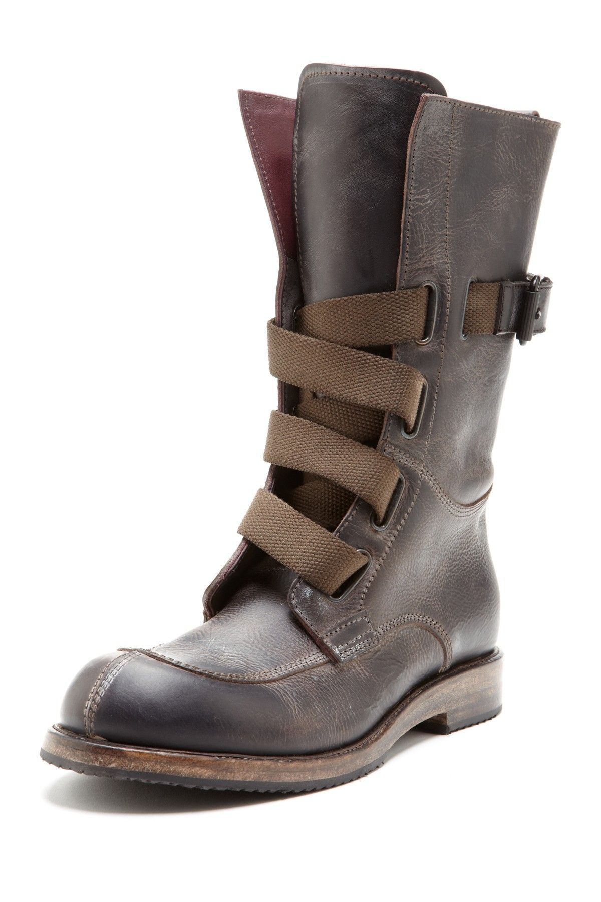 i.am Leather High Top Work Boot with Canvas Straps Office shoes ... b09c3b11ba51