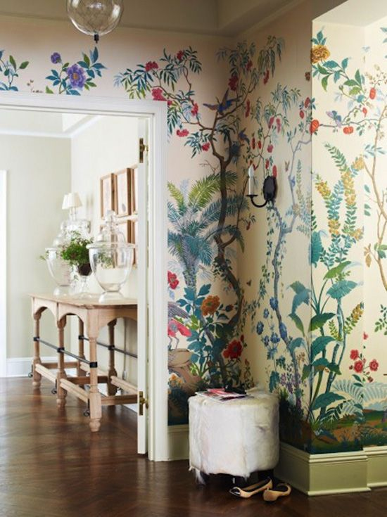 Hand Painted Gracie Botanical Wallpaper Suzanne Mcgrath Design Home Ideas