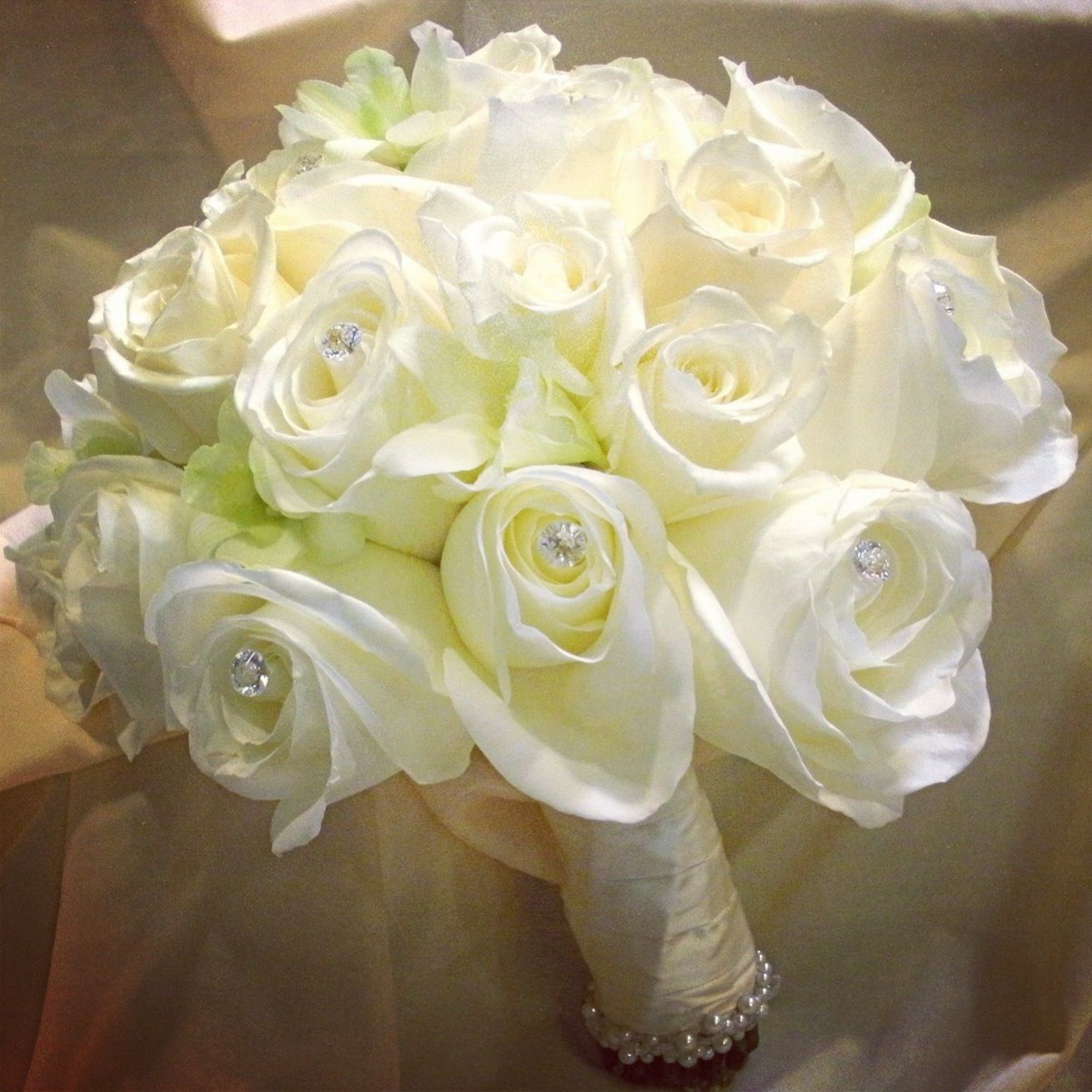 White rose and orchid bouquet with jewels wedding pinterest