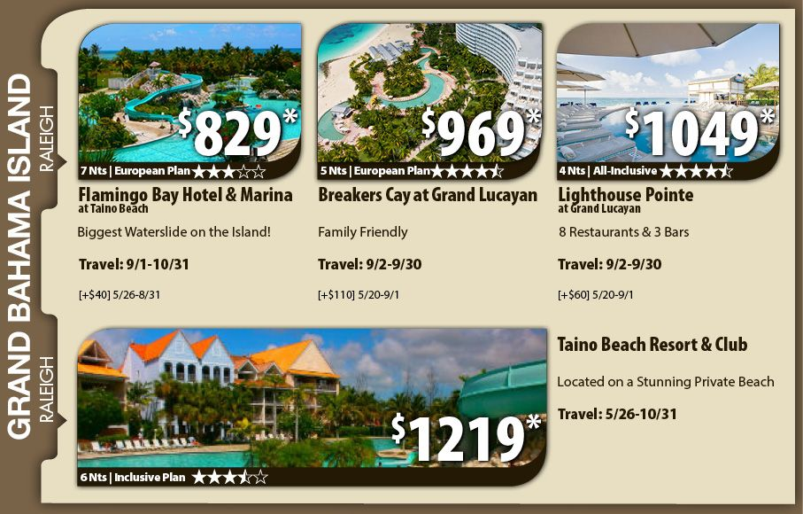 Grand Bahama Island Vacation Specials with Air from Raleigh