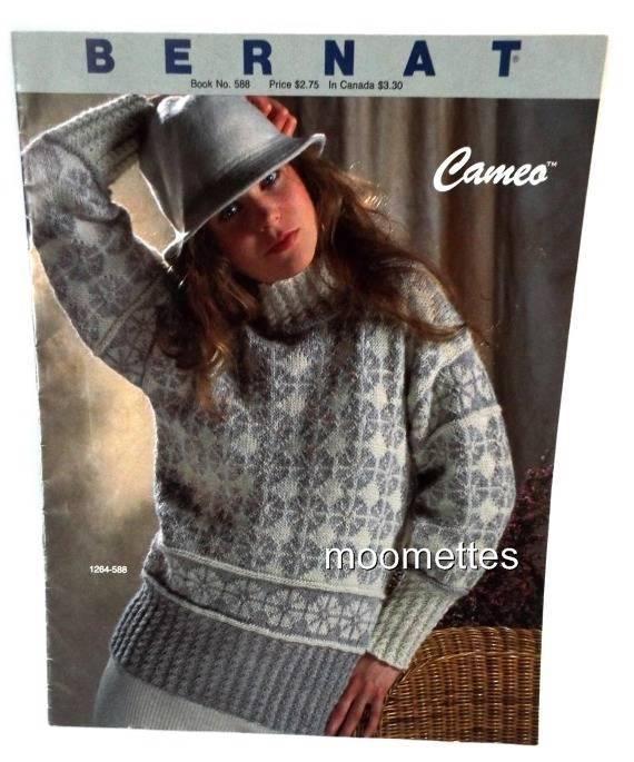 Bernat Fair Isle Sweater Knitting Pattern Book Womens Pullover 588 ...