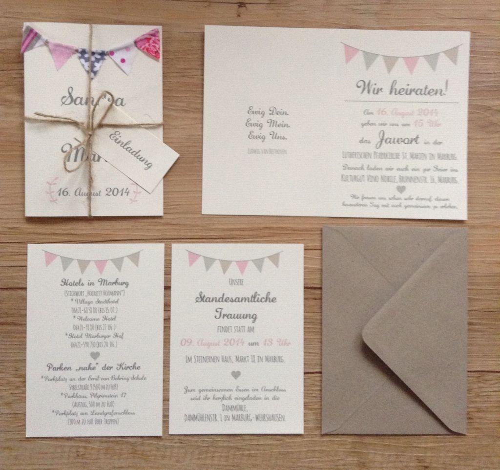 Rustic Wedding Invitation Set With Bunting / Einladung Zur Hochzeit Mit  Wimpelkette