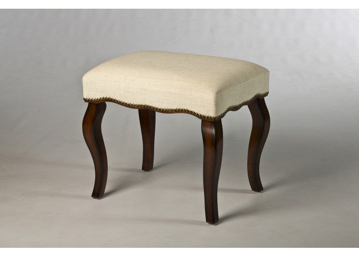 With its elegantly undulating yet sturdy legs and feminine, ivory-hued cushion, the Hamilton Vanity Stool is an old-fashioned, romantic accent piece to any bedroom or closet. The burnished oak and sim