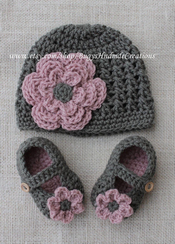 Girls Cross Stitch crochet Hat and crochet baby shoe set.Dark Grey..   35.00 d85920ba763