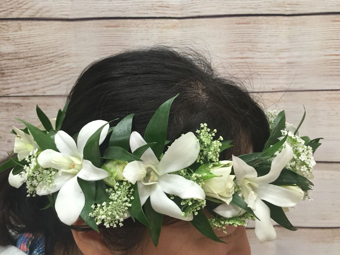 White Orchid And Rose Tropical Halo Haku Flower Crown Watanabe