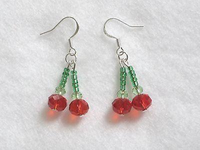 Red-earrings-new-summer-cherry-hook-earrings-drop-dangle-crystal-handmade