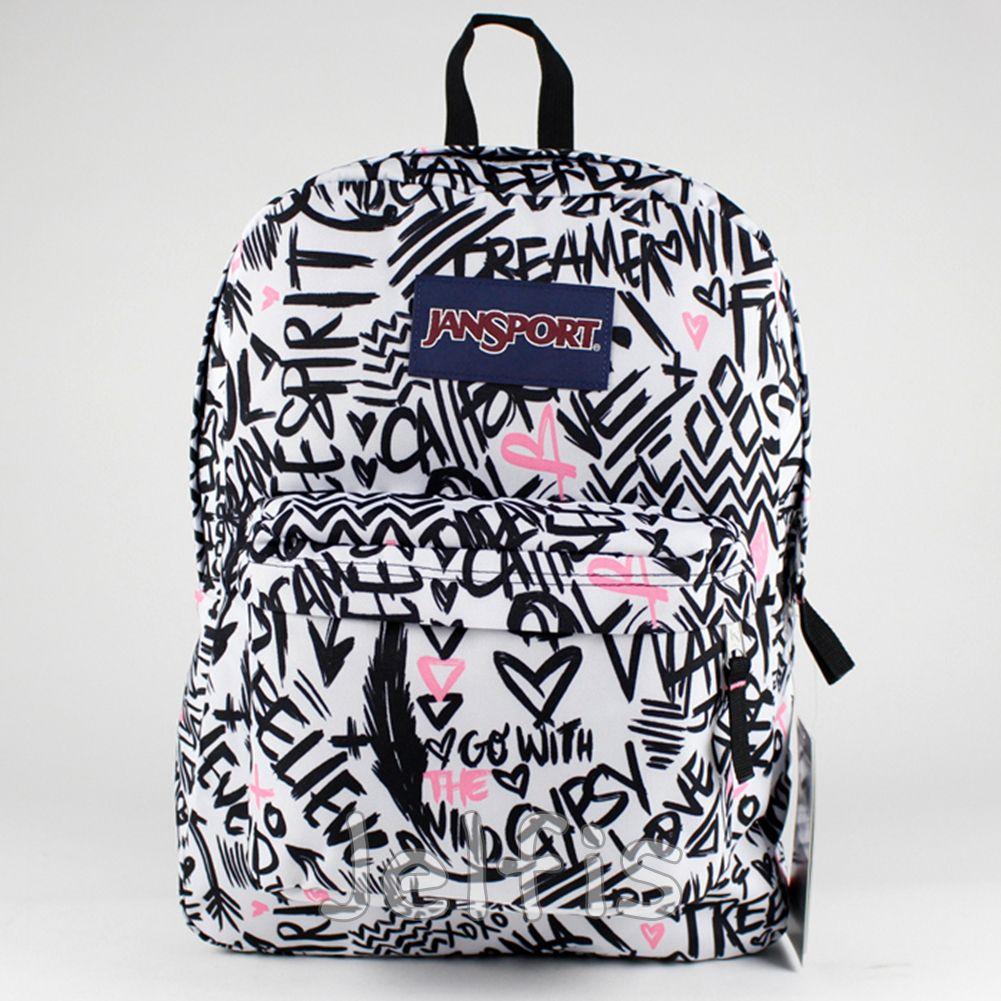 Jansport Superbreak Backpack - 16' Large Inspire Words Heart Girls ...