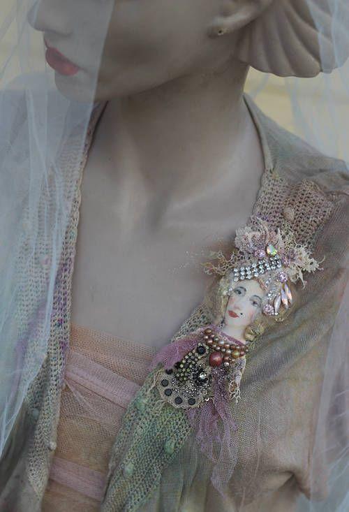 Regina brooch mixed media hand painted and beaded brooch