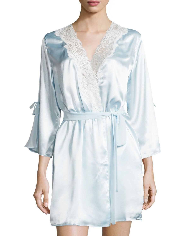 Garden Trellis Lace-Trim Short Robe, Stblu - Oscar de la Renta Pink Label
