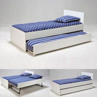 Lit gigogne 90x190 cm avec 2 sommiers lattes en bois sun lights - Ikea lit 90x190 ...