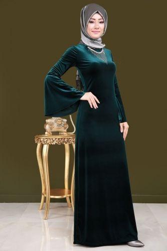 Volan Kol Kadife Elbise Zumrut Musluman Modasi Elbise Elbise Modelleri