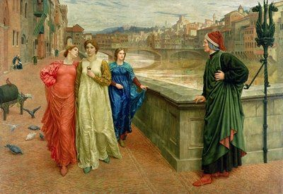 Dante and Beatrice, 1883 Wall Art & Canvas Prints by Henry Holiday