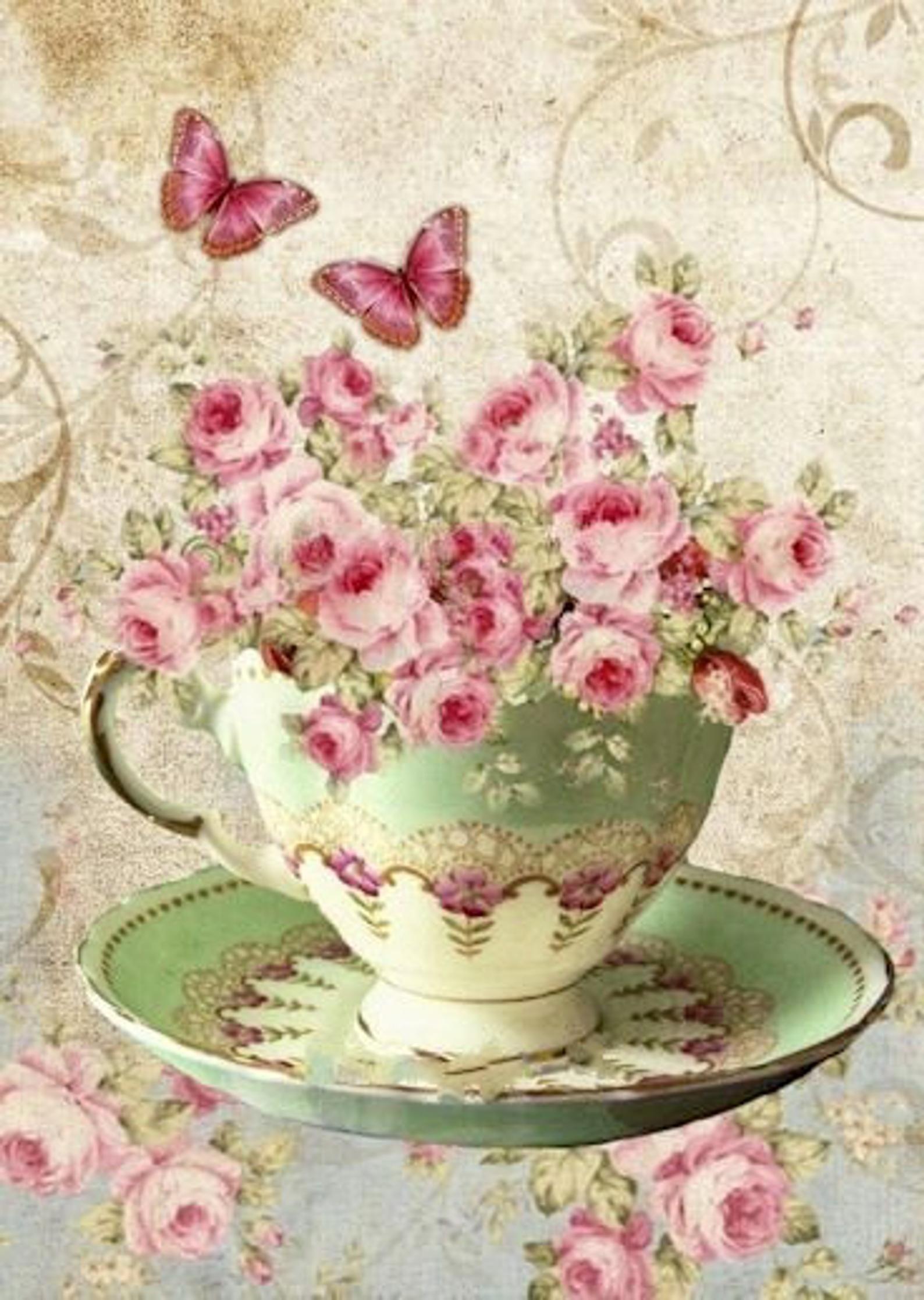 Vintage rosa rosas taza de mantequillamariposas imagen gráfica arte tela bloque Doodaba
