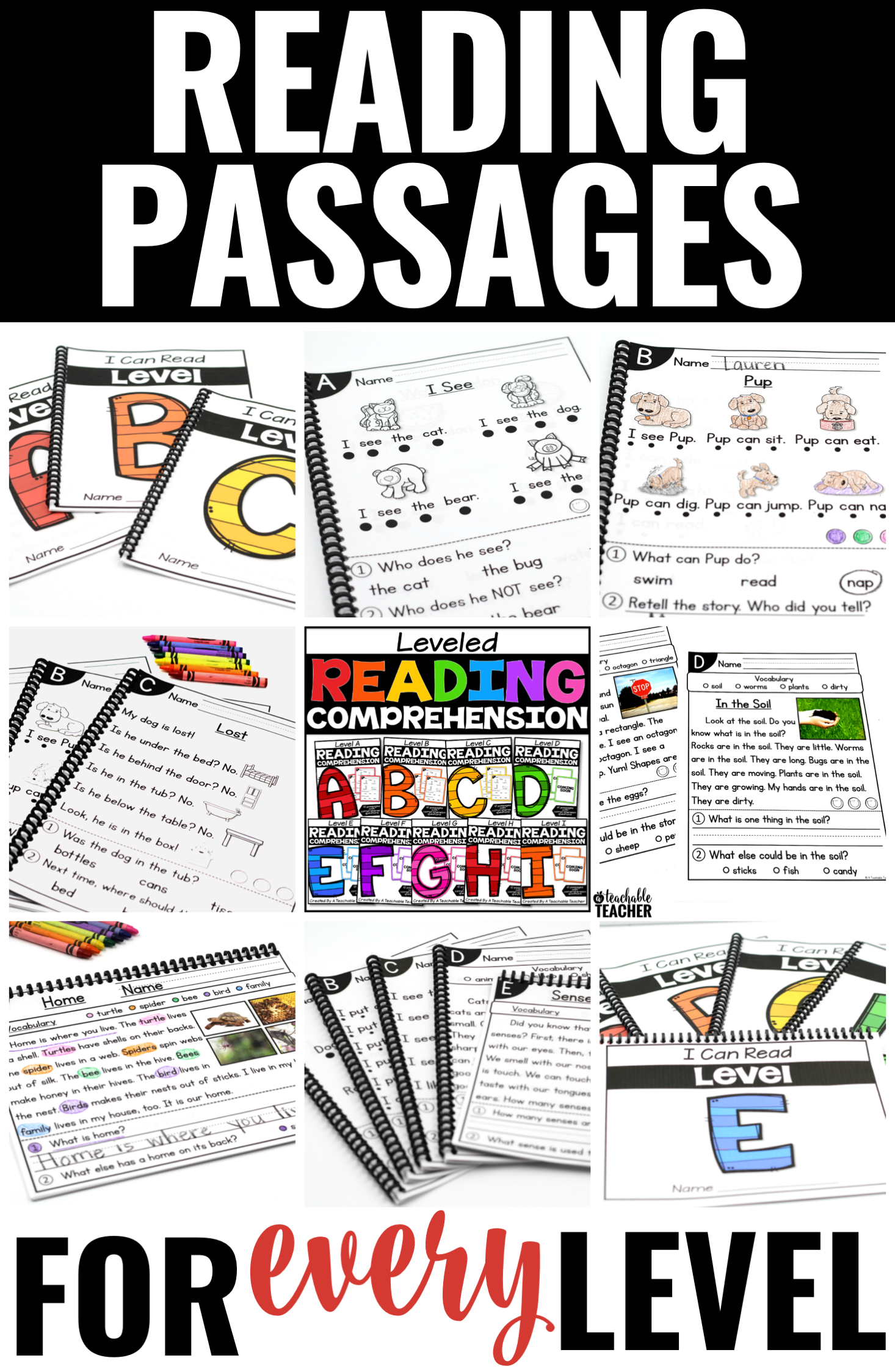 - Leveled Reading Comprehension Passages And Questions Bundle A-I