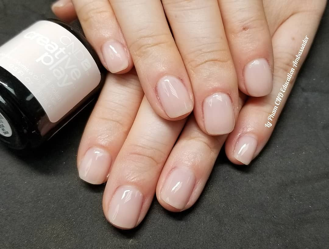 Natural Gel Manicure With Cnd Creative Play In Candycade Cnd Cndcreativeplay Cndcreativeplaygelpolish Candycade Gel Manicure Manicure Rounded Acrylic Nails