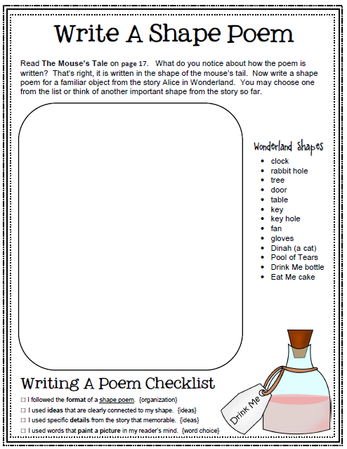 My Idea File: Alice in Wonderland unit. Writing activities in a ...