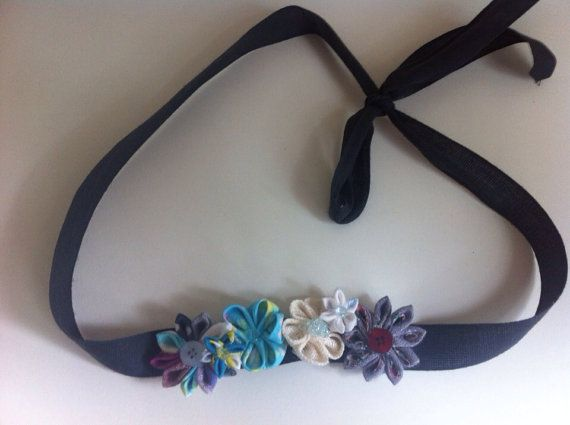 Floral handmade Kanzashi ribbon headband by AFlowerforRose on Etsy, $12.95