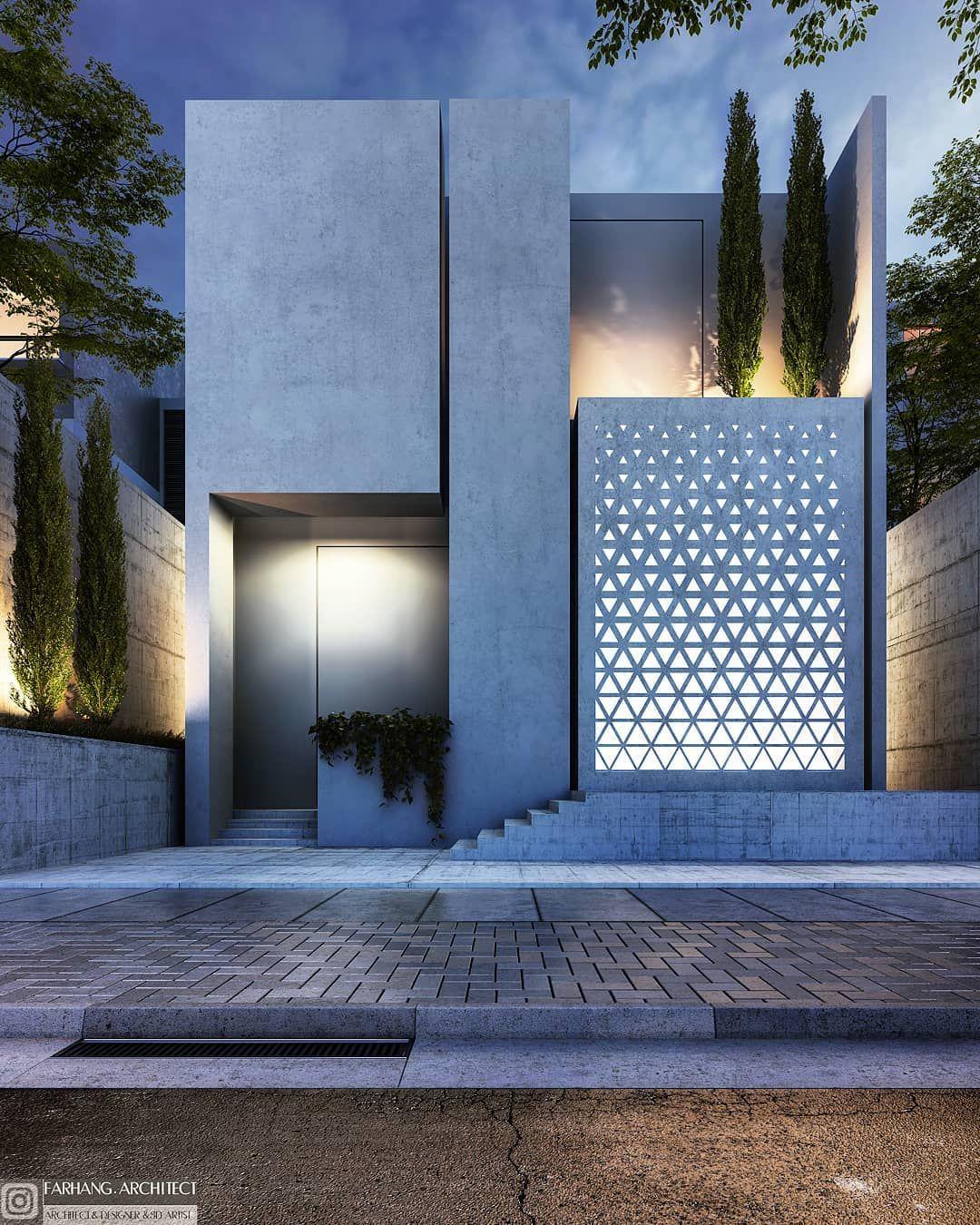 Architect Farhang Architect Villa Facade Archdaily Archdesign Design Exteriordesign Facade House Concrete Architecture House Design