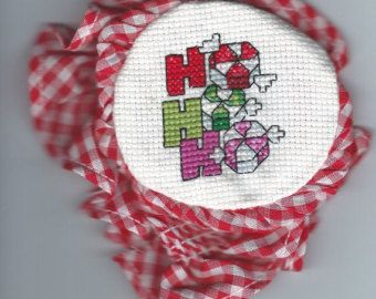 Cross Stitch Christmas Jar Lid Cover