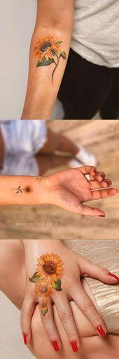 Schöne Vintage Sunflower Tattoo Ideen für Frauen Cute Aquarell Coloful Forea …,  #Aquarell …