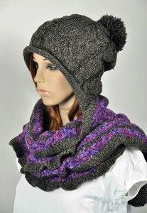 0dd53566900 Thick   Warm Wool Women s Winter Snow Ski Hat Cap Scarf Set One ...