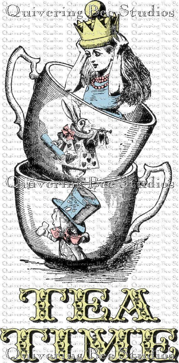 Alice In Wonderland In Tea Cup Tea Time By Quiveringbeestudios