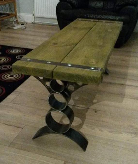 Rustic industrial coffee table | Etsy | Rustic industrial