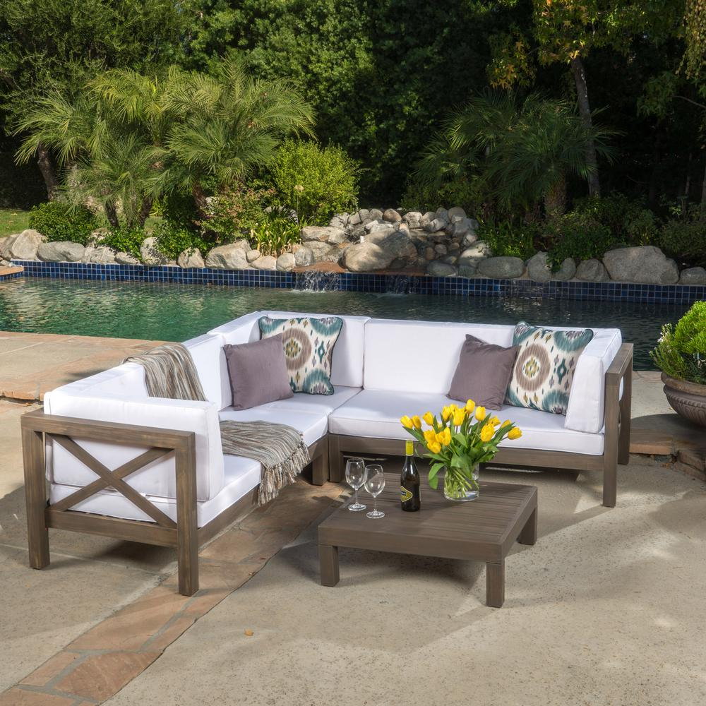 Noble House Brava Gray 4-Piece Wood Outdoor Sectional Set with White ...