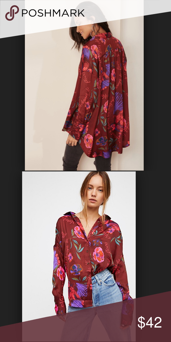 e282f646 Free People Silk Nights Printed Shirt in Wine _116 Printed silky buttondown  featured in an oversized