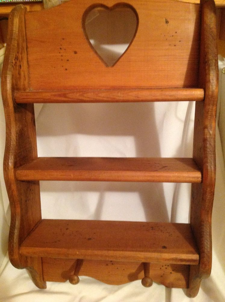Vintage Wood Country Heart 3 Shelf Rustic Rack Knick Knack Curio Wall Display Handcrafted