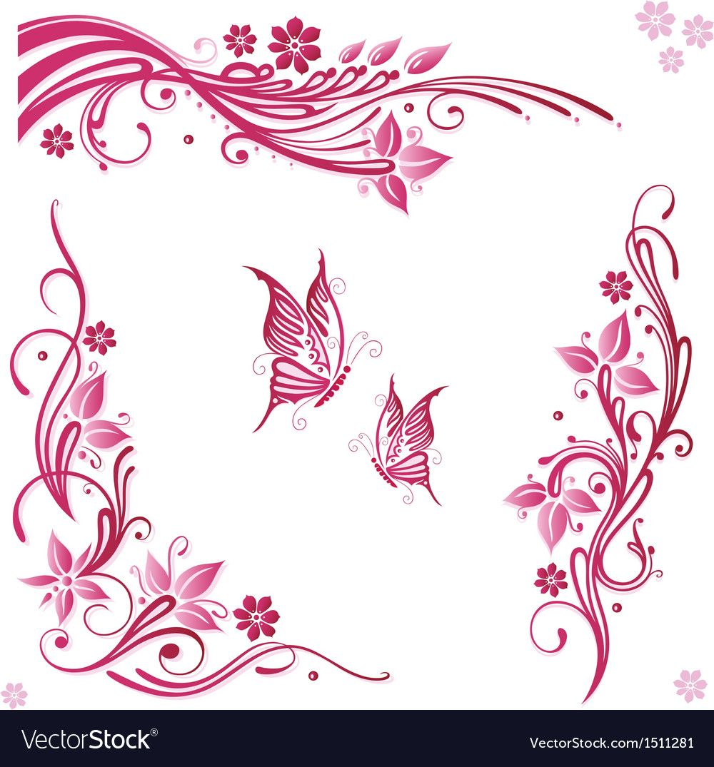 Flowers butterflies pink Royalty Free Vector Image , ad