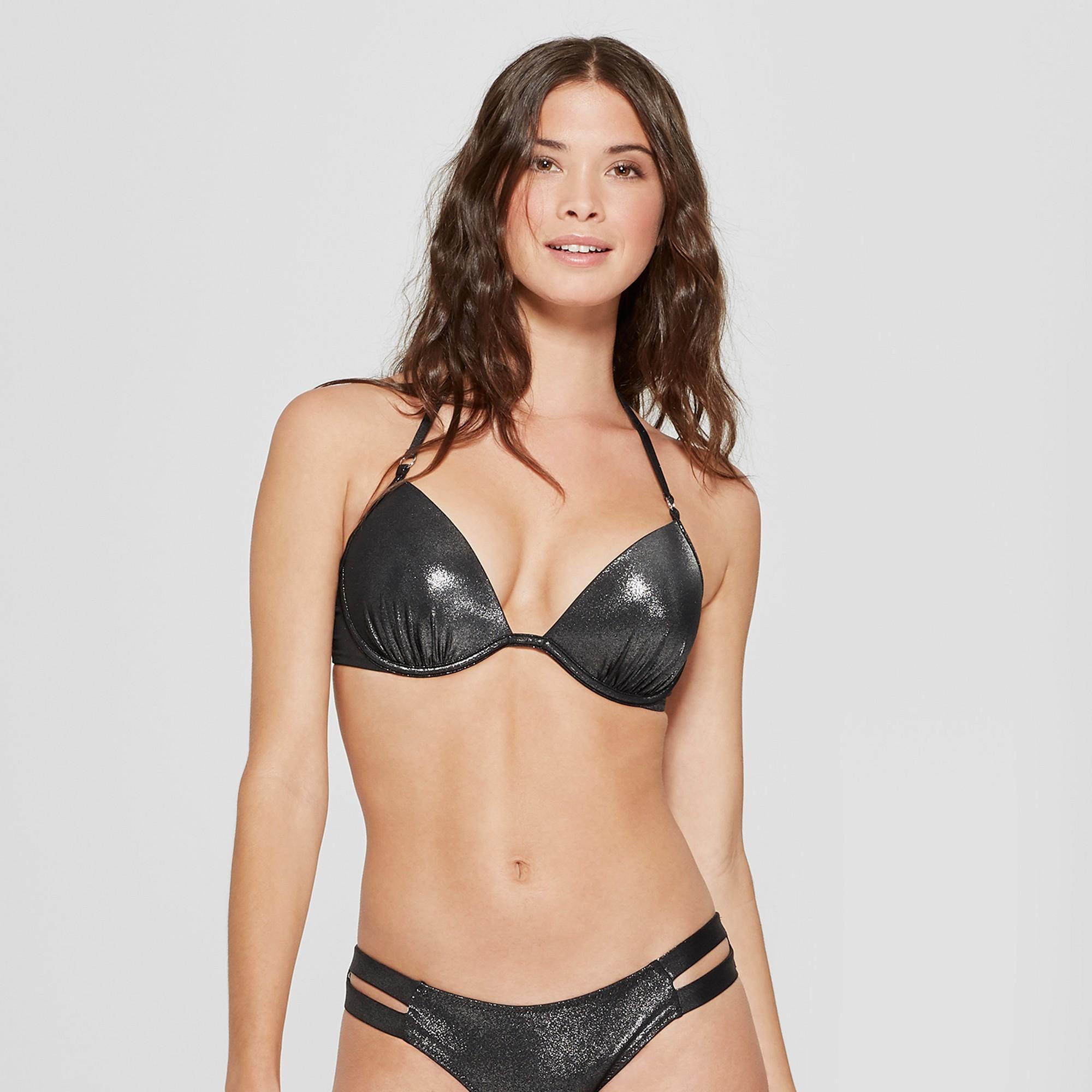 5cbe028a01e0de Women's Shore Light Lift Halter Metallic Bikini Top - Shade & Shore Silver  Foil 34DDD
