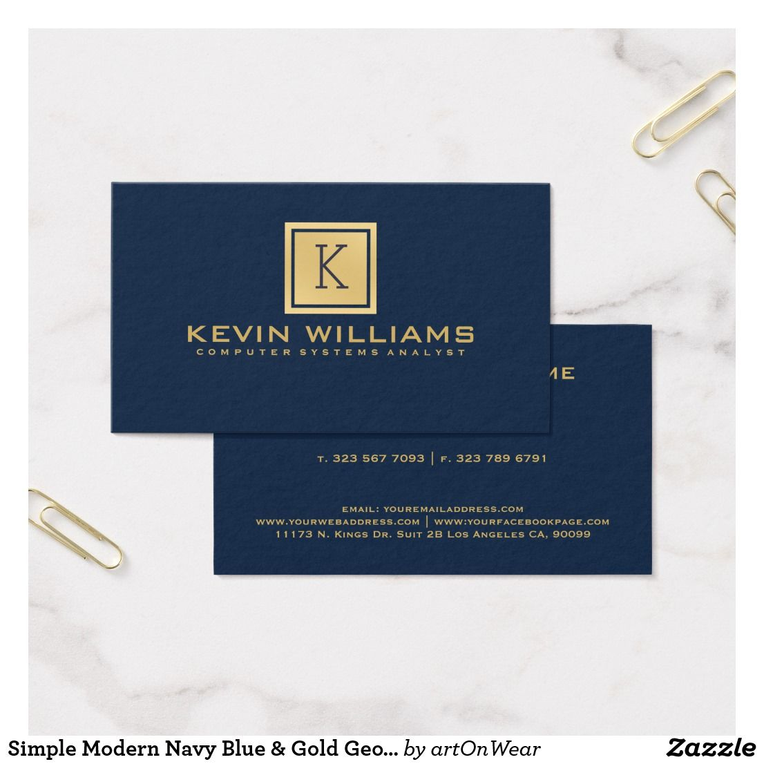 Simple Modern Navy Blue Gold Geometric Accent Business Card Zazzle Com Cards Blue Gold King Card