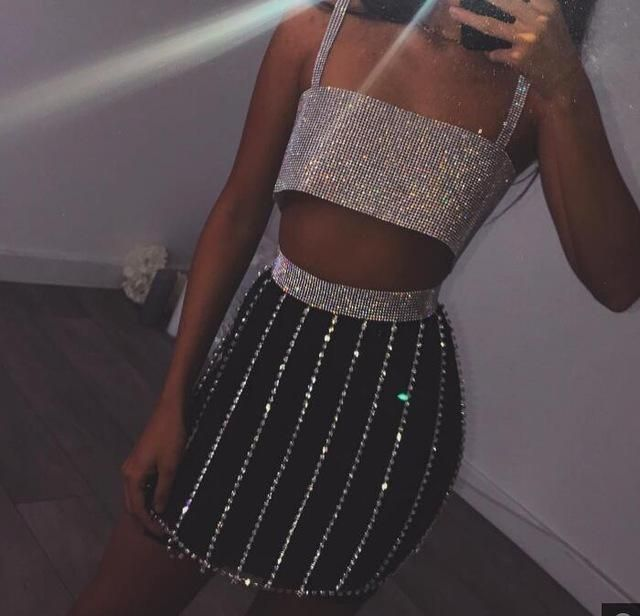 2ed8a746 2018 Sexy Women Metal Chain Diamond Halter Summer Dress Two-piece Gold  Silver Tassel Sequins Luxury club Party Dresses Vesitos