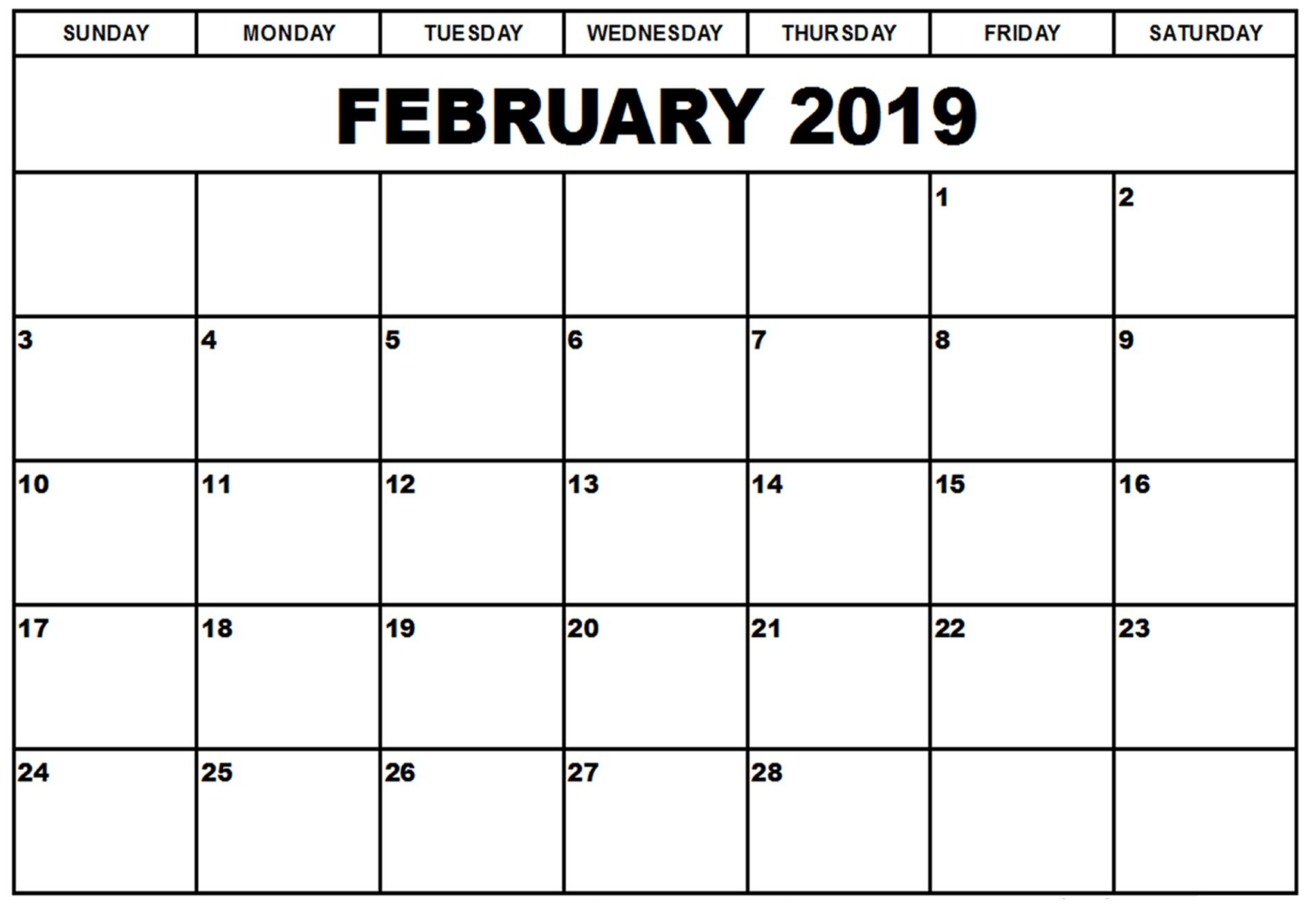 February Printable Word Calendar