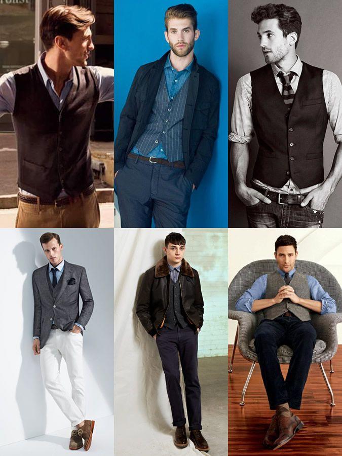 909818bd13f Men s Smart-Casual Waistcoat Lookbook. Love the upper right ...