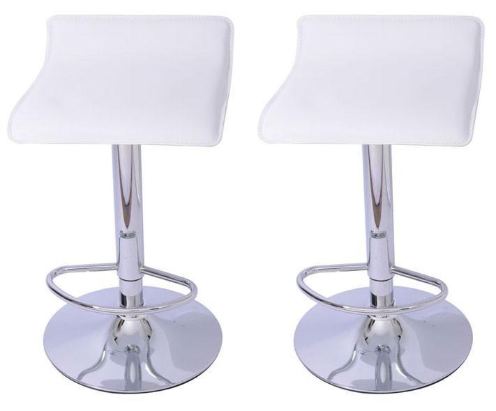 Mochi Furniture Adjustable Lanham Gas Lift Swivel Stool - White (Set of 2)