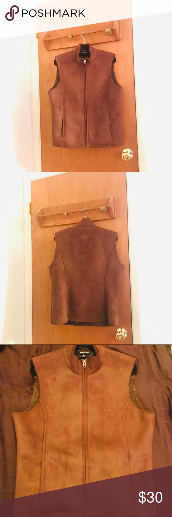 Vintage Brown Faux Suede Vest | Faux suede vest, Suede ...