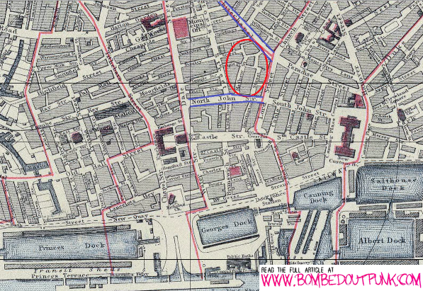 Map Of Mathew Street Liverpool City Centre And The Docks In 1883 - Denver Circled On Us Map