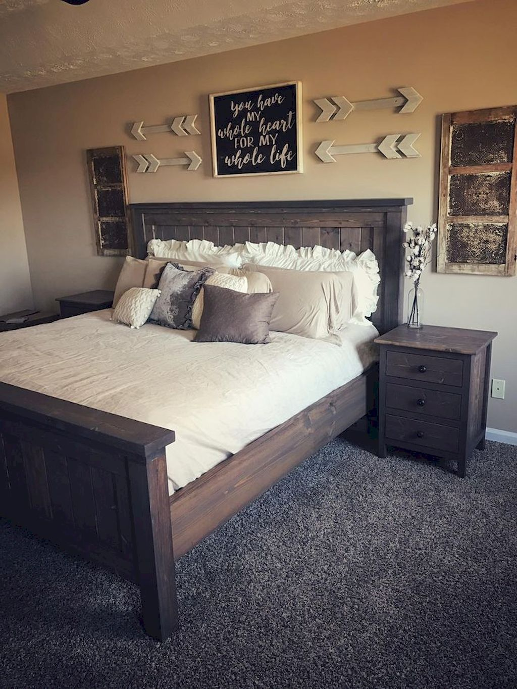 55 Awesome Farmhouse Rustic Master Bedroom Ideas Home Bedroom Rustic Master Bedroom Remodel Bedroom