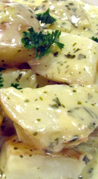 Baby Potatoes With Creamy Garlic Sauce Recipe Potato Side Dishes Recipes Food Dishes