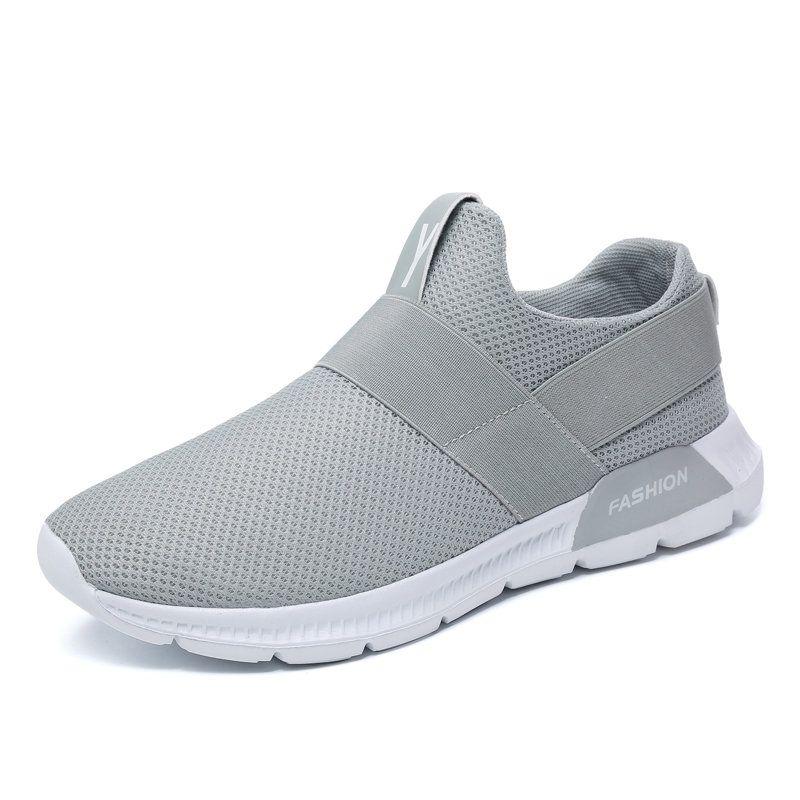 new style 3fed0 e98d2 Slip elástico de malla para hombre en zapatillas de running suaves Zapatos  para caminar casuales