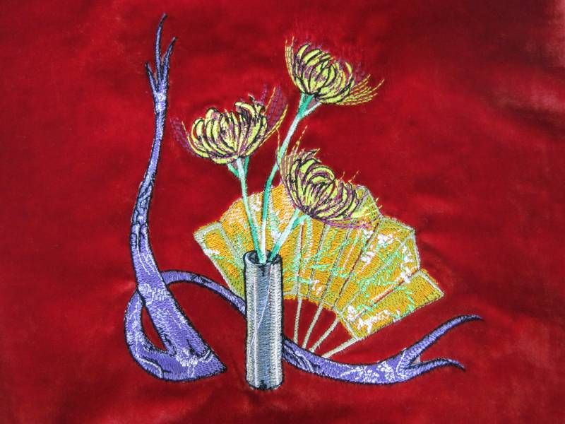 Oriental Composition with Flowers machine embroidery design
