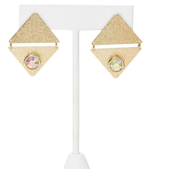 "#2181 trinity earrings Out of this world gold earrings featuring double triangle detailing and clear crystals. Post back. Looks stellar with your favorite outfit and the Twist & Shout Ring!  *1.5""/3.75cm length  *1""/2.5cm  *Imported Nasty Gal Accessories"