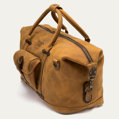 21b3cbc0792 Handmade vintage brown leather duffle bag with shoes compartment ...