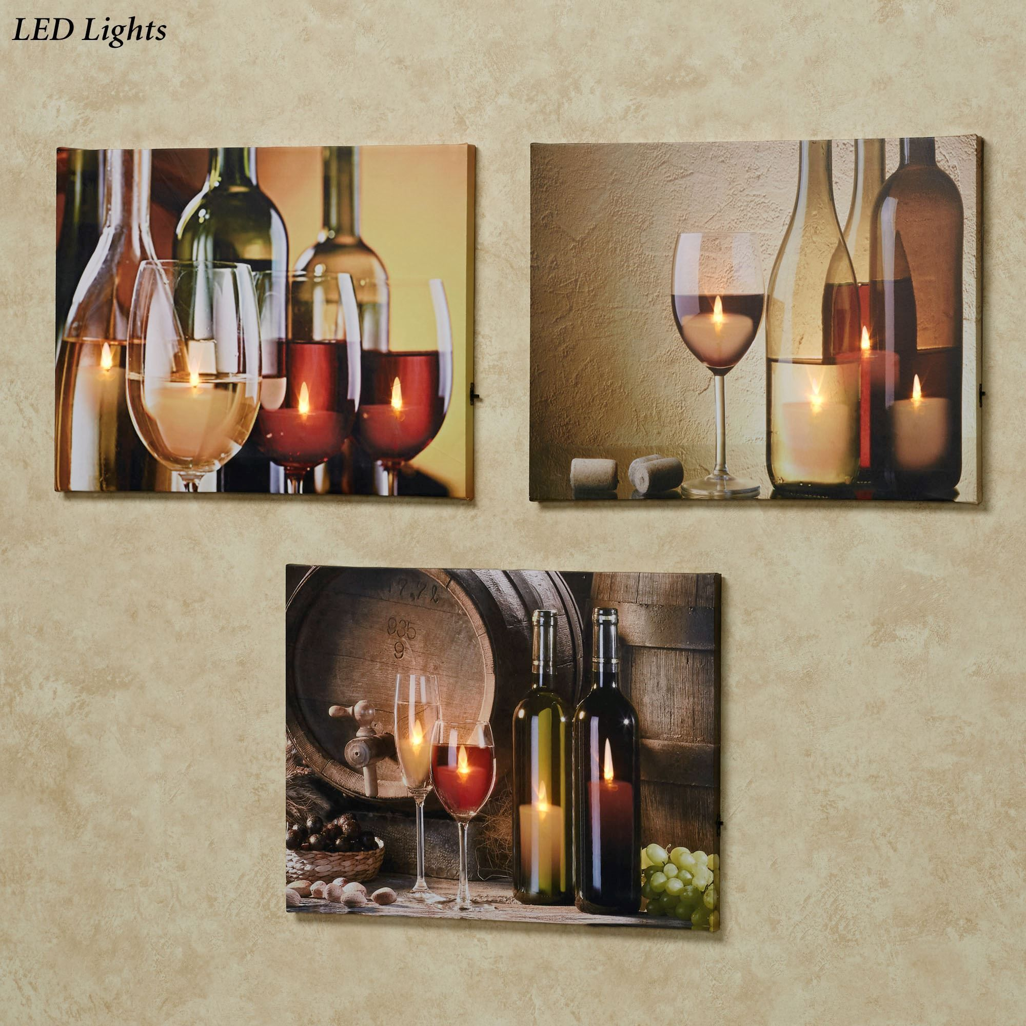 Malbec Wine Led Lighted Canvas Wall Art Set