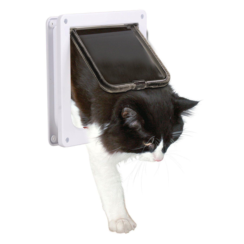 Pet Door XGUO Cat Flap 4 Way Locking Lockable Door Kit For Small Animals  Dog Door
