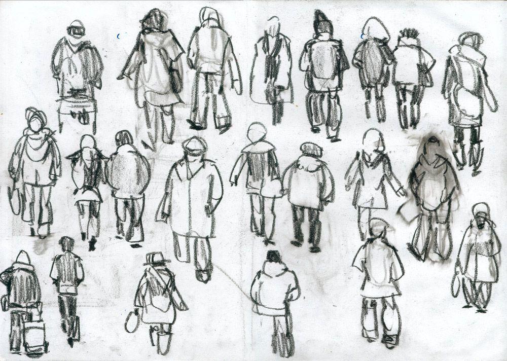 tekeningen van mensen | Tekeningen passanten (42×30) Conté op papier