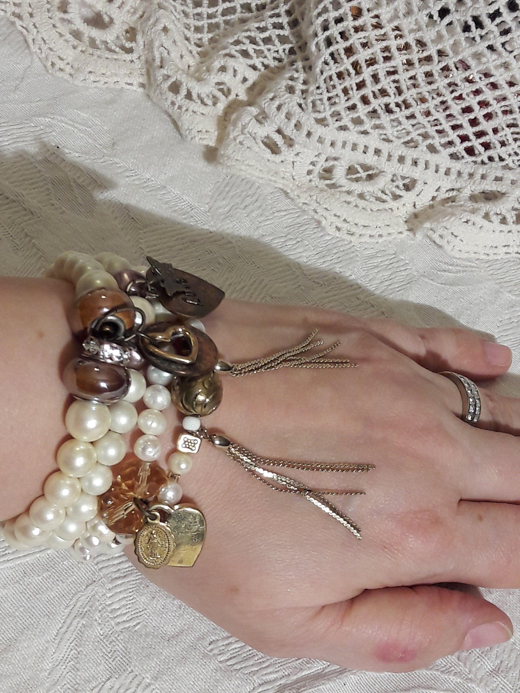 Stacking Bracelet Set White Faux Pearl Beads Tels
