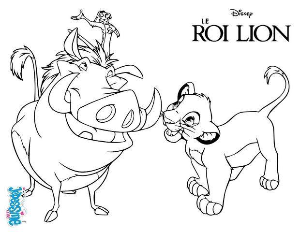 un joli coloriage sur le roi lion viens colorier simba timon et pumba de - Le Roi Lion Coloriage